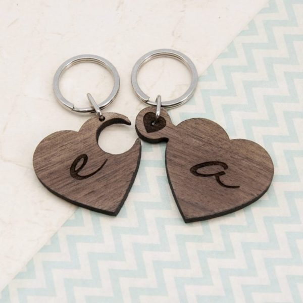2 Heart Jigsaw Wooden Key Ring - Couple Initials