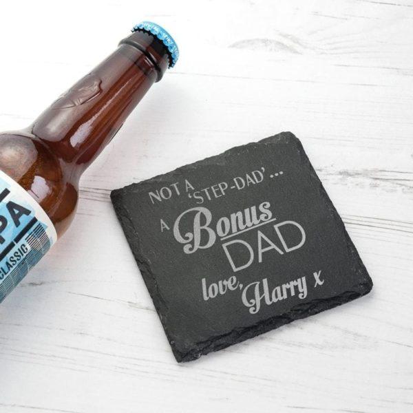 A Bonus Dad Square Slate Keepsake
