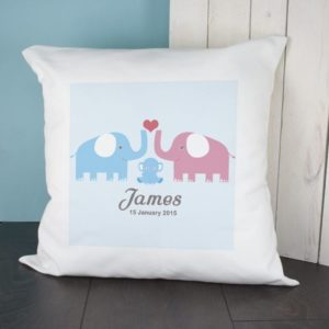 Baby Cushion Cover - Elephants (Blue)