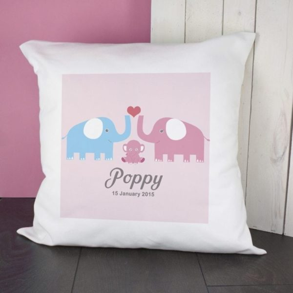 Baby Cushion Cover - Elephants (Pink)