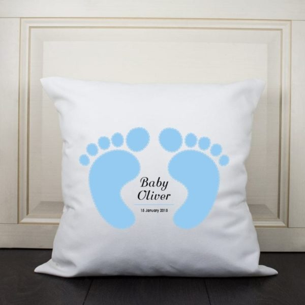 Baby Cushion Cover - Feet (Blue)