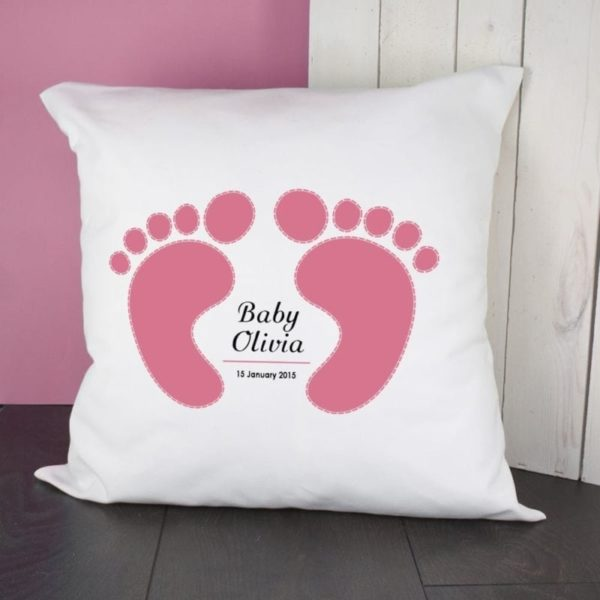 Baby Cushion Cover - Feet (Pink)
