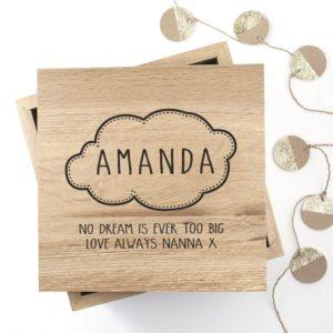 Baby Name in Cloud Oak Photo Keepsake Box
