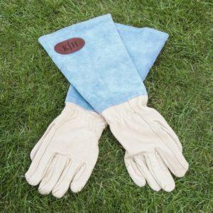 Blue Leather Gardening Gloves