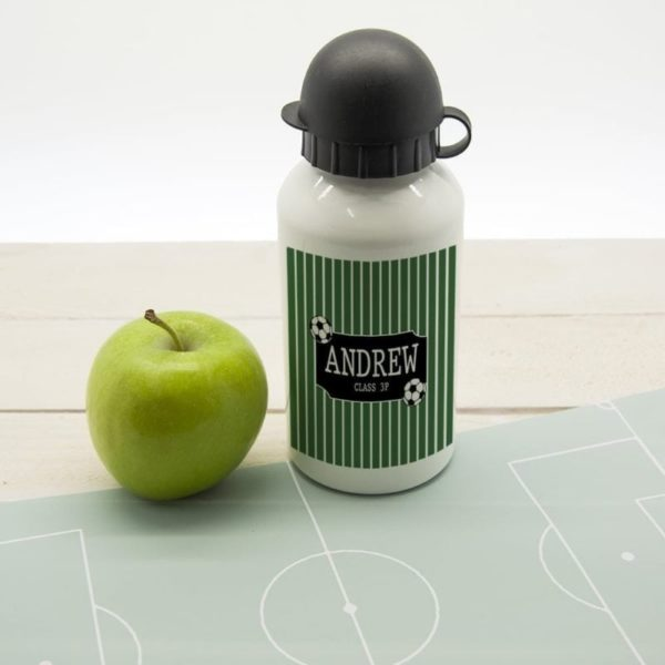 Boys Football Striped Personalised Water Bottle