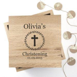 Christening Cross Oak Photo Keepsake Box with Leaf Frame