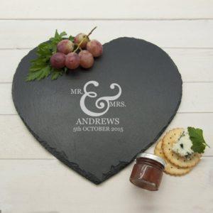 Classic Couples' Heart Slate Cheese Board