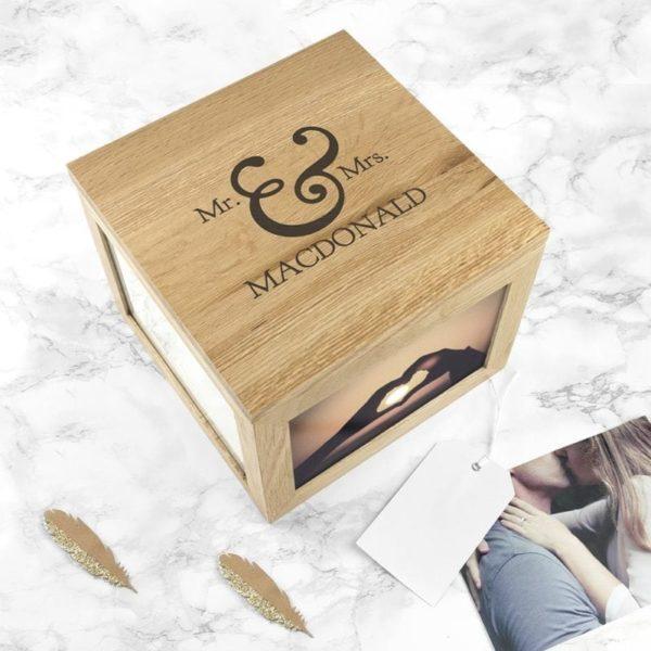 Classic Mr & Mrs Oak Photo Keepsake Box