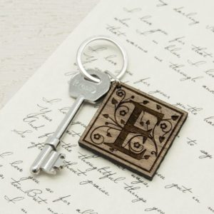 Decorative Initial Wooden Keyring