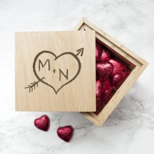 Engraved Carved Heart Oak Photo Cube
