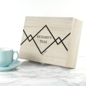 Gentlemen's Teas Personalised Wooden Tea Box
