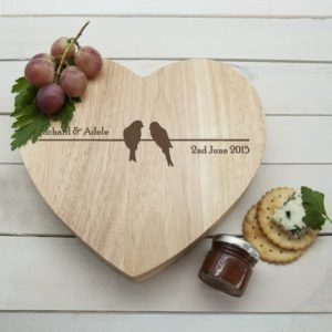 'Love Birds' Romantic Heart Cheese Board