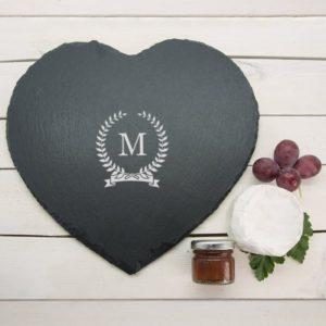 Monogrammed Wreath Heart Slate Cheese Board