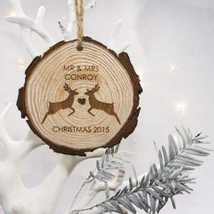Mr & Mrs Reindeer Hanging Decoration