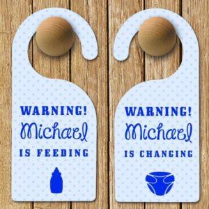 Personalised Baby Warning Door Hanger in Blue