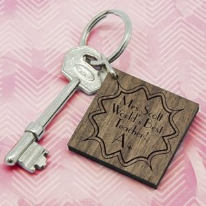 Personalised A+ Teacher Square Keyring