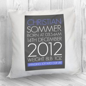 Personalised Baby Cushion Cover in Blue