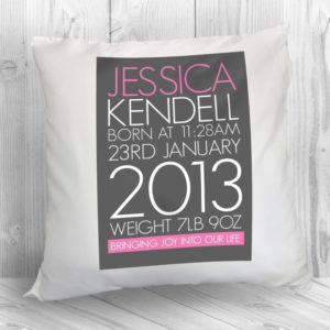Personalised Baby Cushion Cover in Pink