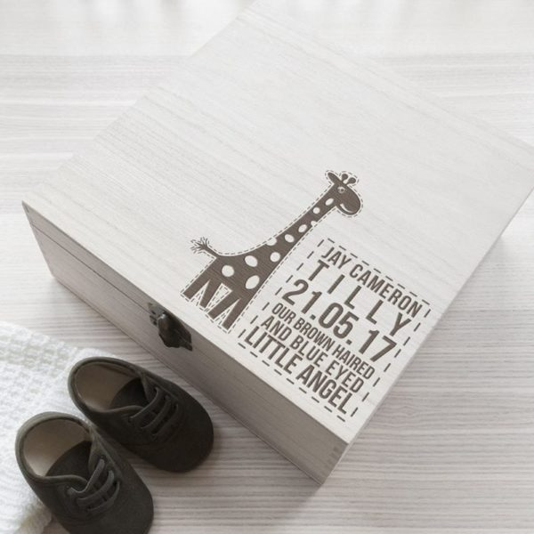 Personalised Baby Giraffe Keepsake Box
