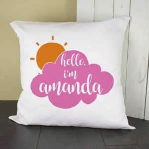 Personalised Baby On Cloud Cushion Cover