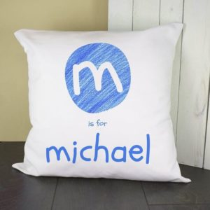Personalised Blue Initial Cushion Cover