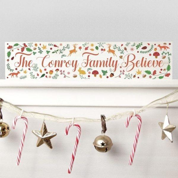Personalised Christmas Woodland Mantle Decoration