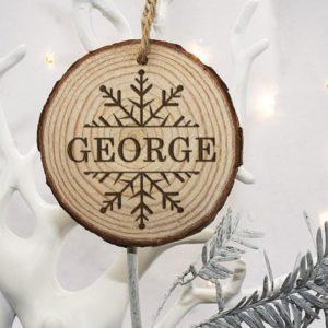 Personalised Engraved Snow Flake Christmas Tree Decoration