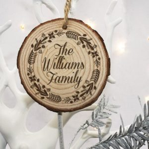 Personalised Engraved Wreath Family Christmas Tree Decoration