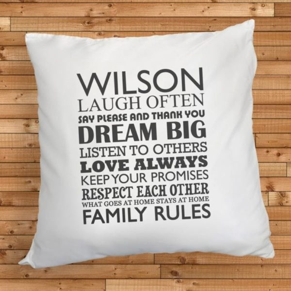 Personalised Family Rules Cushion Cover