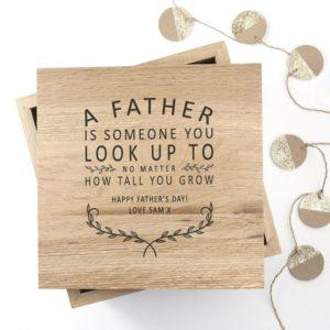 Personalised Father Is Oak Photo Keepsake Box