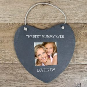 Personalised Heart Shaped Hanging Slate Picture Frame