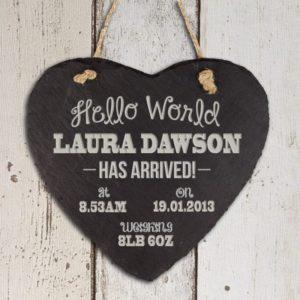 Personalised Hello World Slate Heart Keepsake