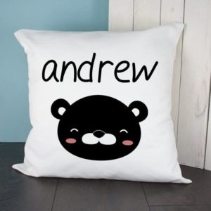Personalised Little Bear Face Cushion Cover