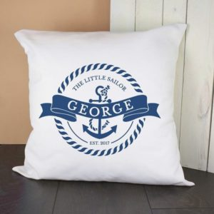 Personalised Little Sailor With Anchor Cushion Cover