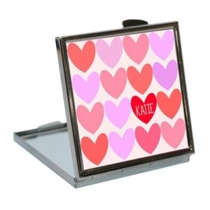 Personalised Love Hearts Compact Mirror