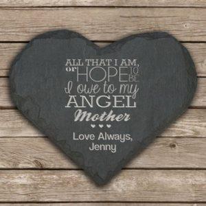 Personalised My Mother is an Angel Slate Heart Keepsake