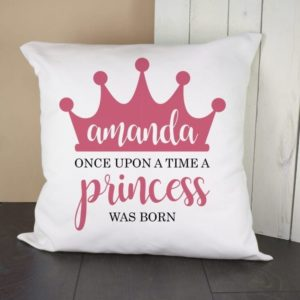 Personalised Once Upon A Time A Princess Was Born Cushion Cover