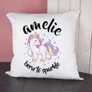 Personalised Unicorn Born To Sparkle Cushion Cover