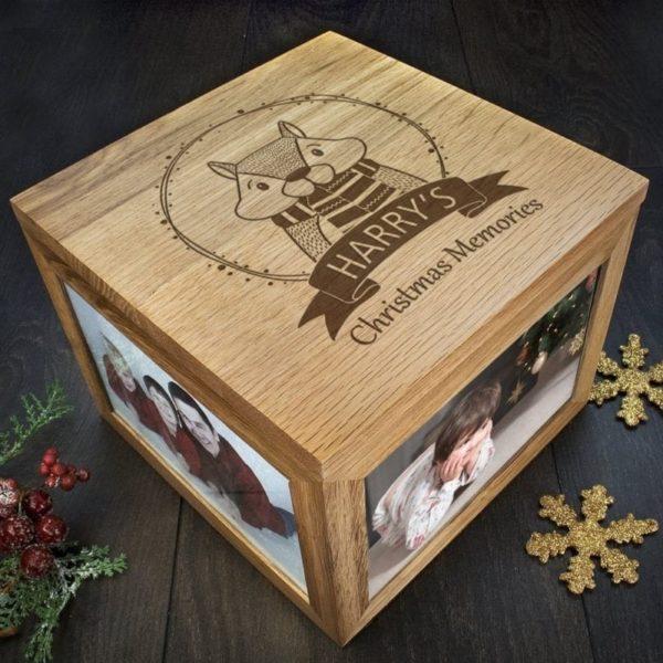 Personalised Woodland Chipmunk Christmas Memory Box