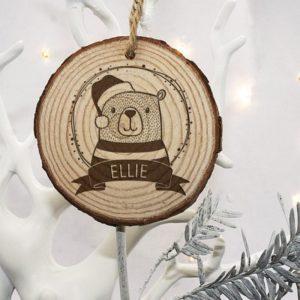 Personalised Woodland Bear Christmas Tree Decoration