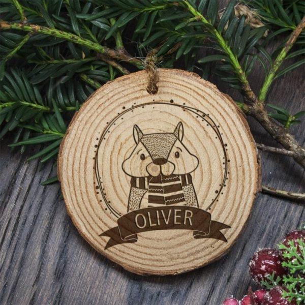 Personalised Woodland Chipmunk Christmas Tree Decoration