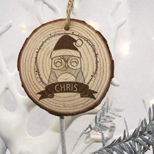 Personalised Woodland Owl Christmas Tree Decoration