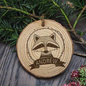 Personalised Woodland Raccoon Christmas Tree Decoration