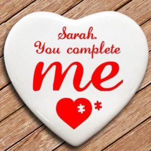 Personalised You Complete Me Heart Keepsake