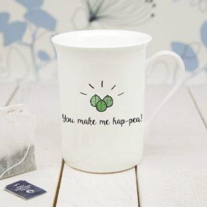 Personalised You Make Me Hap-Pea Bone Chine Mug