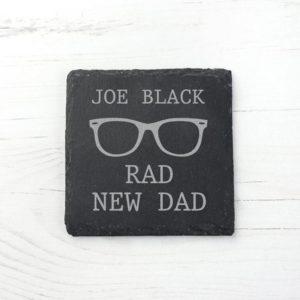 Rad New Dad Square Slate Keepsake