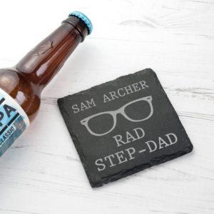 Rad Step-Dad Square Slate Keepsake
