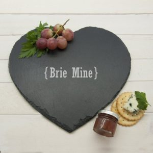 Romantic Brackets Heart Slate Cheese Board