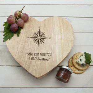 Romantic Compass Heart Cheese Board