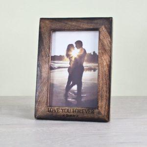 Single Portrait Photo Frame - Darkened Wood